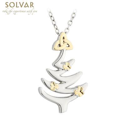 Irish Christmas Jewelry Set - Shamrock Trinity Knot Rhodium Earring Brooch Pendant Set