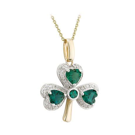 Shamrock Necklace - 14k Gold with Diamonds and Emeralds Shamrock Pendant