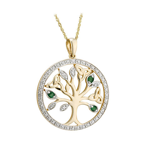 Irish Necklace - 14k Gold with Diamonds and Emeralds Tree of Life Pendant