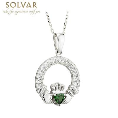Irish Necklace - Claddagh Birthstone Crystal Pendant