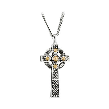 Celtic Cross Necklace - Sterling Silver with Gold Dome Celtic Cross Pendant