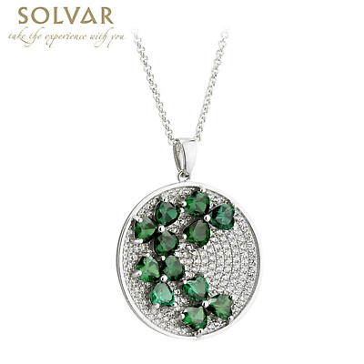 Shamrock Necklace - Round Sterling Silver Green Crystal Irish Shamrock Pendant