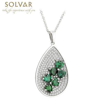 Shamrock Necklace - Irish Sterling Silver Oval Green Crystal Shamrock Pendant
