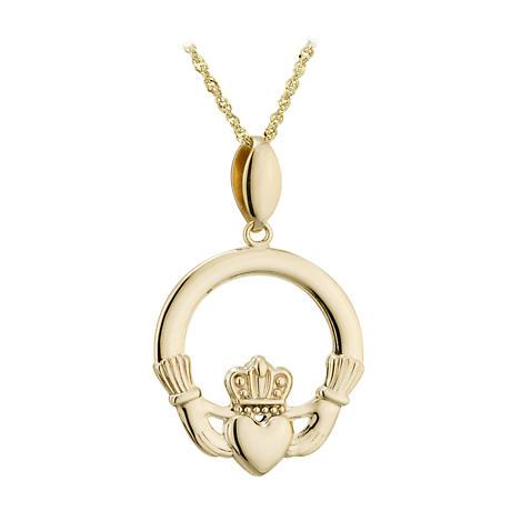 Claddagh Necklace - 14k Gold Claddagh Pendant