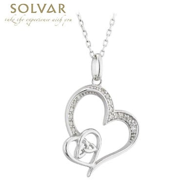 Irish Two Hearts Together Trinity Knot Necklace