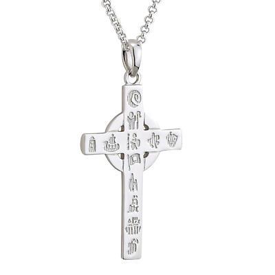 Irish Necklace - Sterling Silver History of Ireland Small Cross Pendant