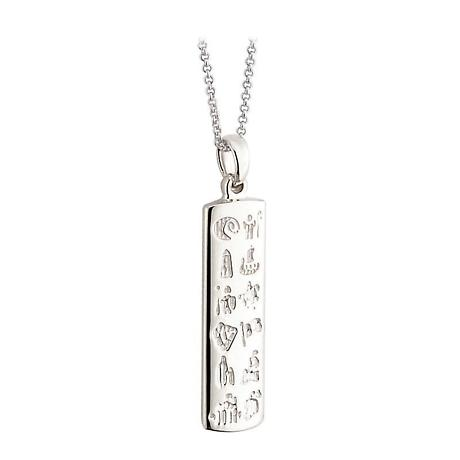 Irish Necklace - Sterling Silver History of Ireland Ingot Pendant with Chain