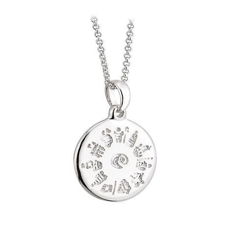 Irish Necklace - History of Ireland Sterling Silver Disc Irish Pendant