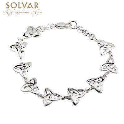 Celtic Bracelet - Silver 9 Link Trinity Knot Bracelet