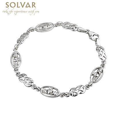 Celtic Bracelet - Sterling Silver Claddagh and Celtic Knot Link Bracelet