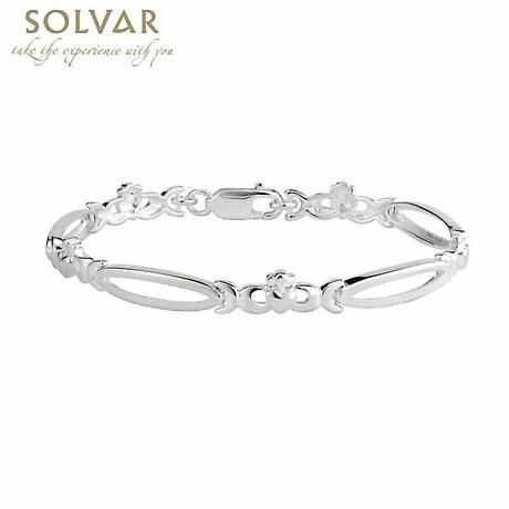 Irish Bracelet - Sterling Silver Claddagh Link Bracelet