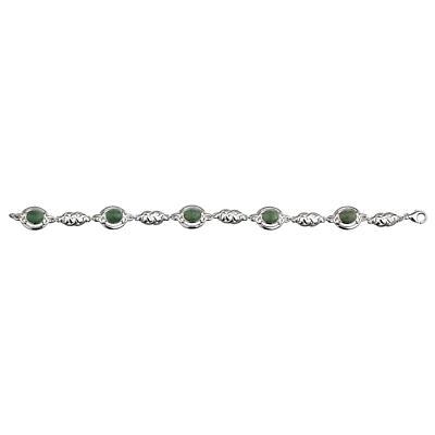 Celtic Bracelet - Sterling Silver Connemara Marble and Celtic Knot Link Bracelet