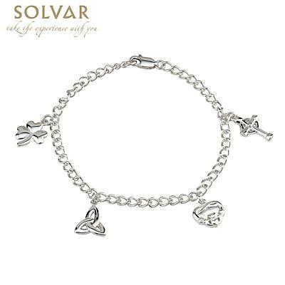 Sterling Silver Irish Symbols Charm Bracelet
