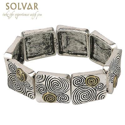 Irish Bracelet - Celtic Spirals Gold & Silvertone Stretch Bracelet