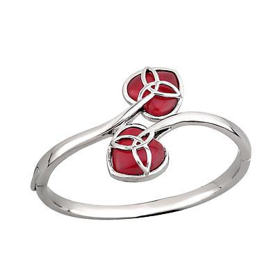 Irish Valentines Day Jewelry - Rhodium Plated 2 Heart Trinity Knot Irish Bangle