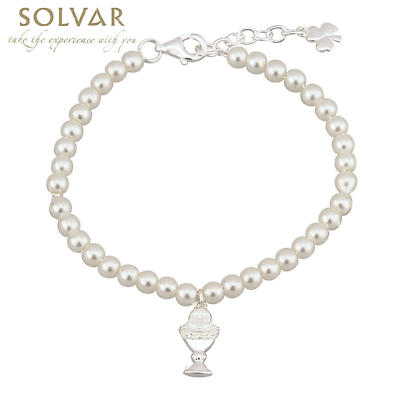 First Communion Pearl Bracelet - Silver Plated with Chalice and Shamrock Charms