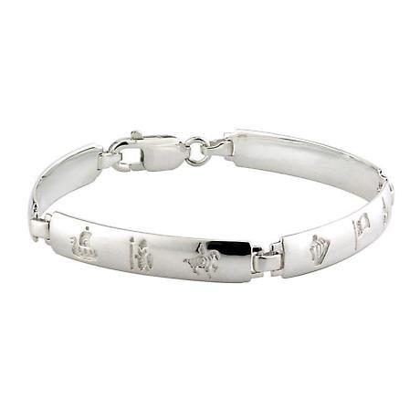 Irish Bracelet - History of Ireland Sterling Silver 4 Link Bracelet