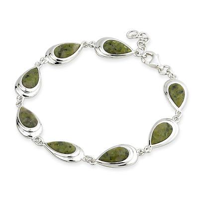Sterling Silver Connemara Marble Oval Link Bracelet