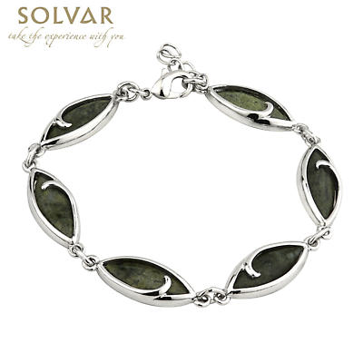 Sterling Silver Connemara Marble Twist Link Bracelet
