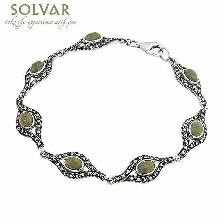 Sterling Silver Connemara Marble and Marcasite Link Bracelet