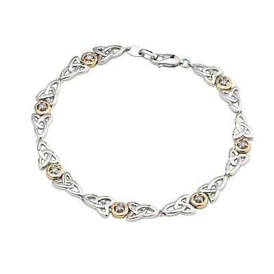 Irish Bracelet - Sterling Silver and 10k Gold Fusion Diamond Celtic Trinity Knot Bracelet