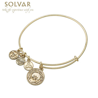 Irish Bracelet - Gold Tone Claddagh Charm Irish Symbols Expandable Bangle