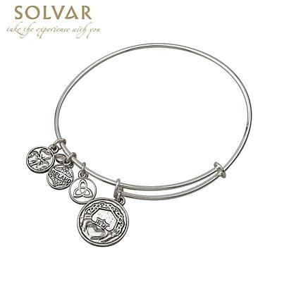 Irish Bracelet - Silver Tone Claddagh Charm Irish Symbols Expandable Bangle