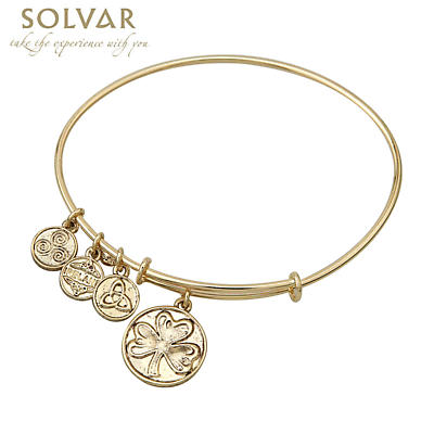 Irish Bracelet - Gold Tone Shamrock Charm Irish Symbols Expandable Bangle