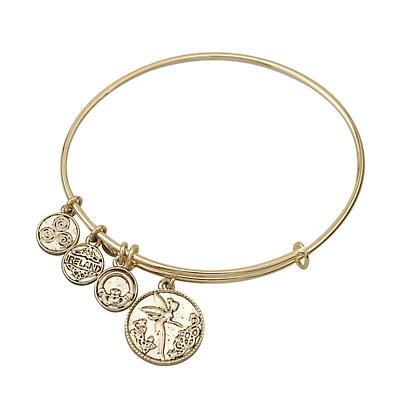 Irish Bracelet - Gold Tone Irish Fairy Charm Irish Symbols Expandable Bangle