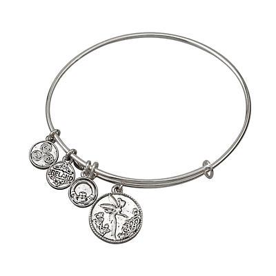 Irish Bracelet - Silver Tone Irish Fairy Charm Irish Symbols Expandable Bangle