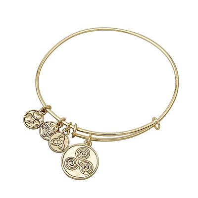 Irish Bracelet - Gold Tone Celtic Spiral Charm Irish Symbols Expandable Bangle