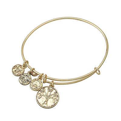 Irish Bracelet - Gold Tone Celtic Tree of Life Trinity Knot Charm Irish Symbols Expandable Bangle
