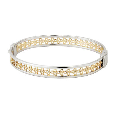 Celtic Bangle - Sterling Silver and Gold Plate Celtic Trinity Knot Bangle