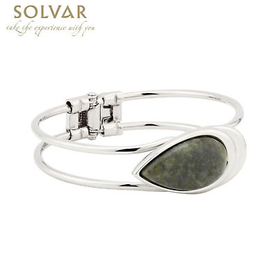 Irish Bracelet - Rhodium Plated Connemara Marble Bangle