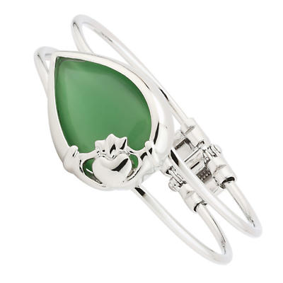 Irish Bracelet - Rhodium Plated Green Cat's Eye Claddagh Bangle