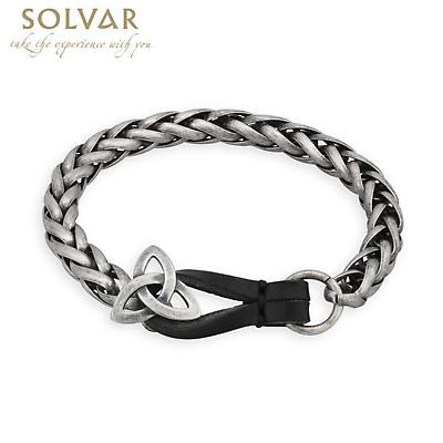 Irish Mens Bracelet - Trinity Knot Pewter Style Man's Bracelet