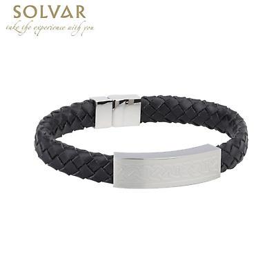 Irish Bracelet - Steel Men's Medium Black Leather Bracelet