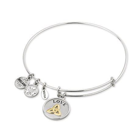 Celtic Bangle - Sterling Silver and Gold Plated Trinity Knot Expanding Bangle