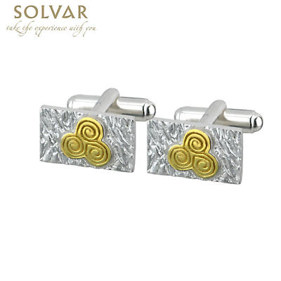 Celtic Cufflinks - Sterling Silver Two Tone Newgrange Cufflinks