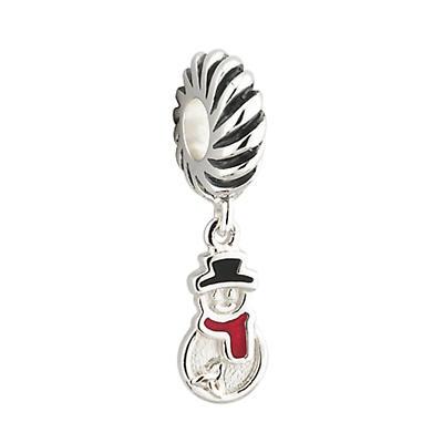Silver Dangle Snowman Bracelet Bead
