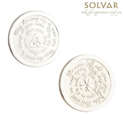 Irish Blessing Shamrock and Trinity Knot Coin by Solvar Jewelry