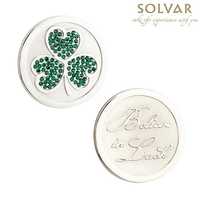 Irish Shamrock with Crystal Coin by Solvar Jewelry