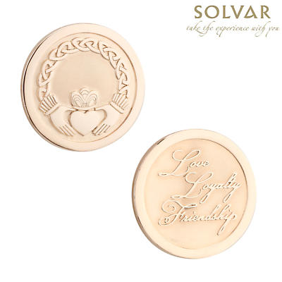 Irish Rose Gold Plated Claddagh Coin by Solvar Jewelry
