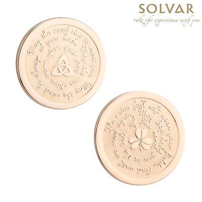 Irish Rose Gold Plated Irish Blessing Shamrock and Trinity Knot Coin by Solvar Jewelry
