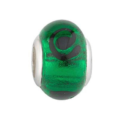 Celtic Bracelet Bead - Green Celtic Glass