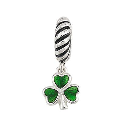 Sterling Silver Enamel Shamrock Bracelet Bead