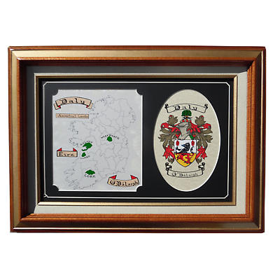 Irish Coat of Arms Framed Print with Map of Ireland