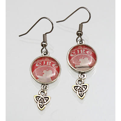 Irish Postage Stamp Earrings with Trinity Knot Charm
