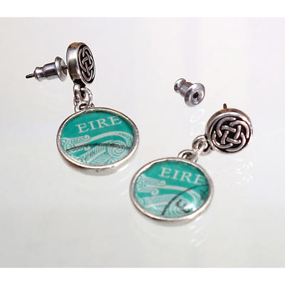 Celtic Earrings - Irish Postage Stamp Earrings with Celtic Knot Posts