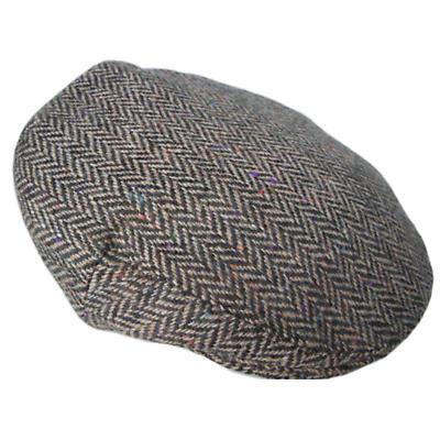 Tan Herringbone Donegal Tweed Cap